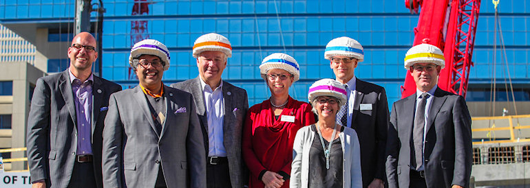 Dignitaries with Lego Hardhats
