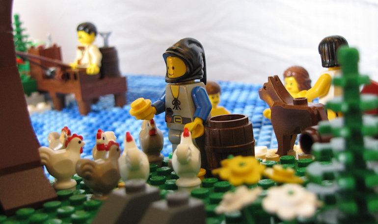 LEGO Lighthouse Feeding Chickens